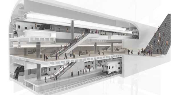 Ren­der­ing of the pro­jected Penn Sta­tion exten­sion of the ARC project; image taken from blog​.nj​.com