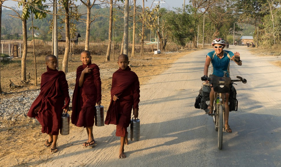 Bicycling through Myanmar. (Photo: David Kroodsma)