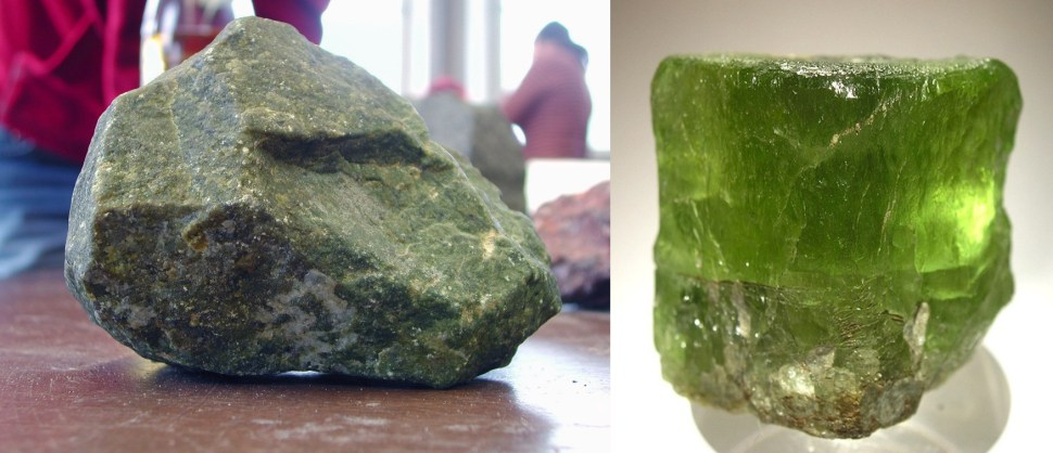 A peridotite rock on the left, the mineral olivine on right. Olivine reacts with CO2 from air in a natural process. (Photo: דקי)