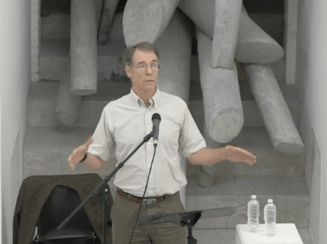 Science fiction writer Kim Stanley Robinson speaking at MoMA PS1