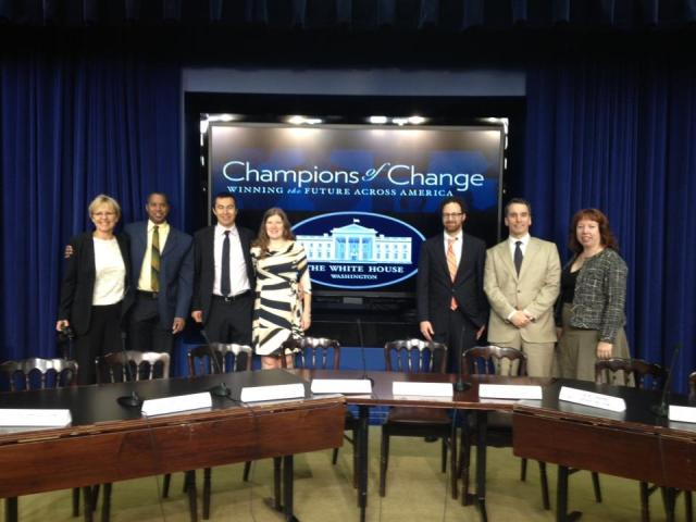 Walter Meyer, David Gibbs and Power Rockaways Resilience team receiving Champions of Change award from the White House