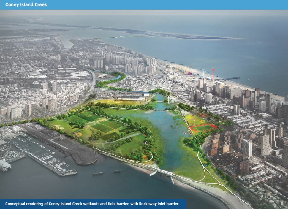A proposed wetland park along the creek. Rockaway Inlet barrier at top right of image. (SIRR)