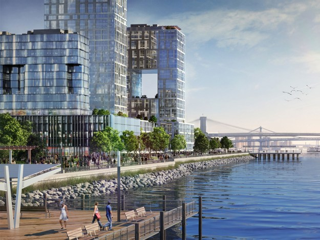 Rendering of Seaport City proposal for housing built on a levee in the East River (nyc.gov)