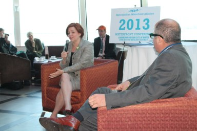 Christine Quinn discussing the waterfront (http://assets.dnainfo.com/generated/photo/2013/04/debate-on-boat-13655174277664.JPG/image640x480.jpg)