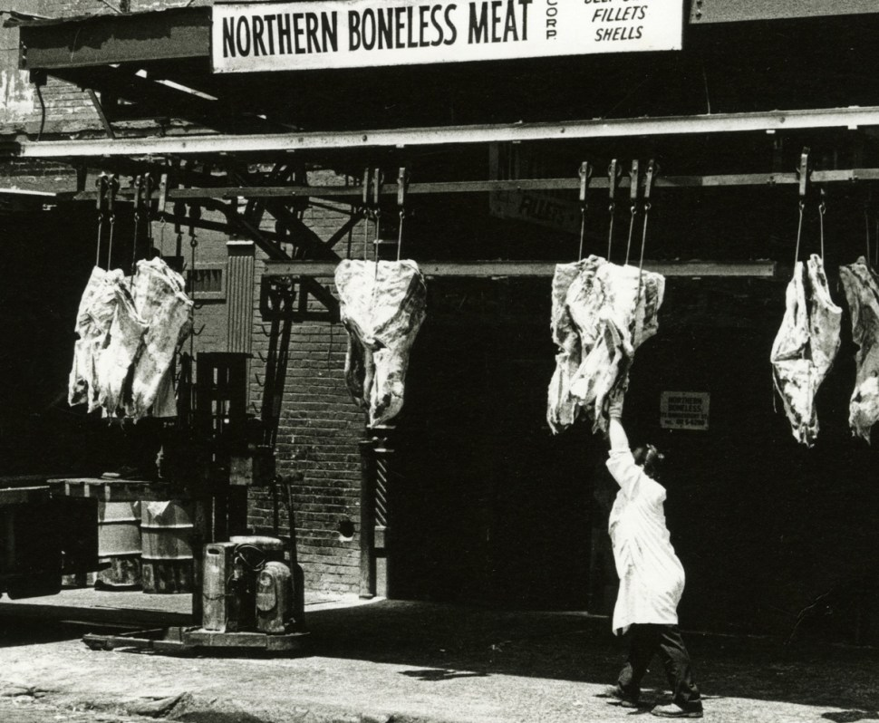 The neighborhood up through the 1990's was a center for wholesale meat distributors. Washington Street (Photo by Eugene Gordon, courtesy New-York Historical Society)
