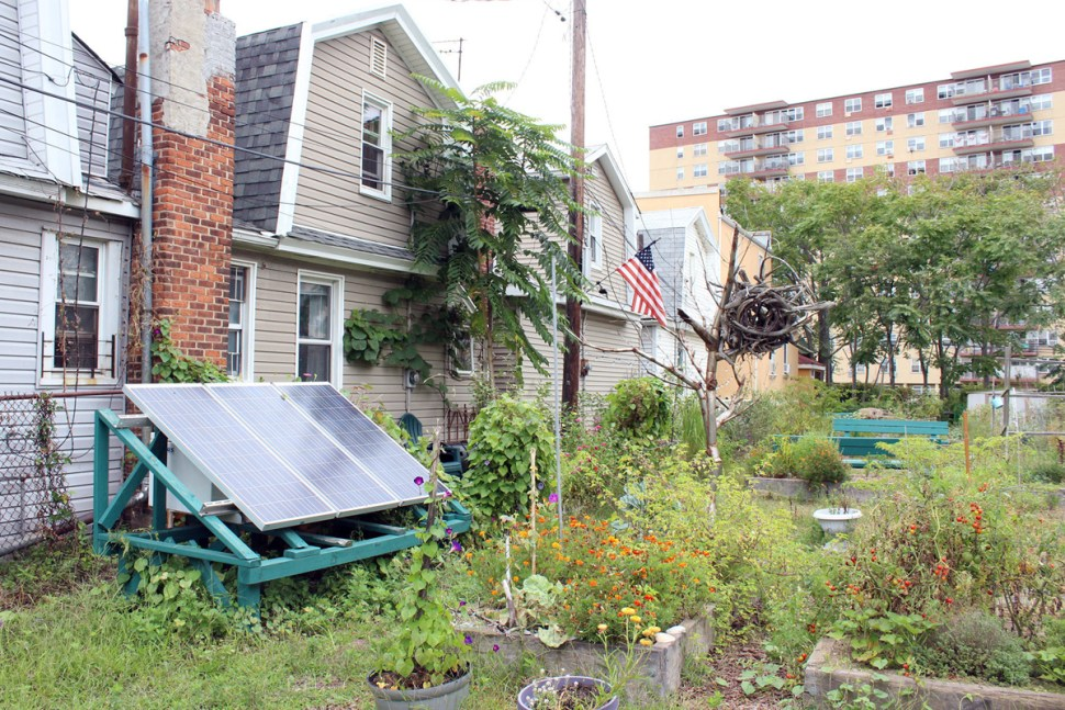 Solar panels that provided power in the wake of Sandy stay connected in a Rockaway community garden.