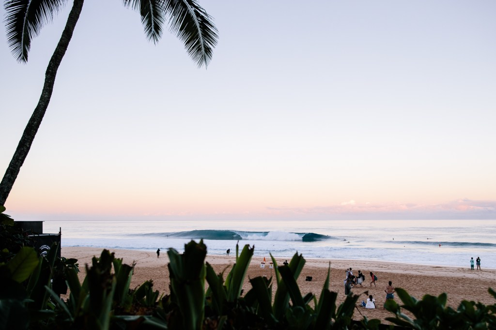 OAHU, UNITED STATES - DECEMBER 9: The lineup prior to the commencment of the trials of the 2019 Billabong Pipe Masters taking place at Pipeline on December 9, 2019 in Oahu, United States. (Photo by Ed Sloane/WSL via Getty Images)