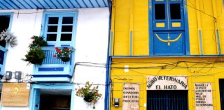 Houses and shops in Salento, Colombia