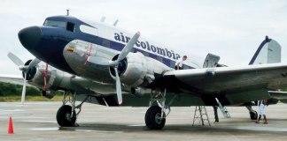 The vintage DC-3 of Air Colombia in Villavicencio.