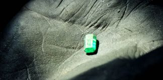 Emeralds mined in Muzo, Colombia