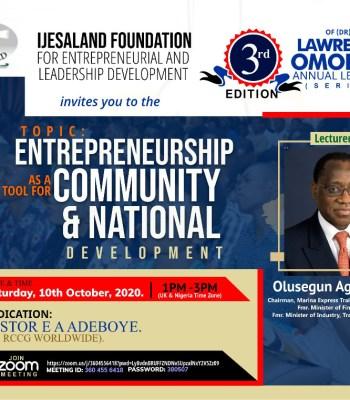 Aganga To Speak At Ijesaland Foundation For Entreprenueral and Leadership Webinar ~Thecitypulsenews