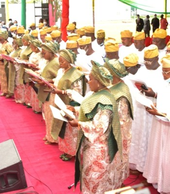 SANWO-OLU SWEARS IN 57 COUNCIL CHAIRMEN, SAYS 'IT'S TIME FOR WORK, NOT FOR POLITICAL VENDETTA'