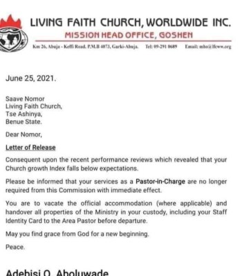 David Oyedepo Sacks 40 Pastors over Poor Performance