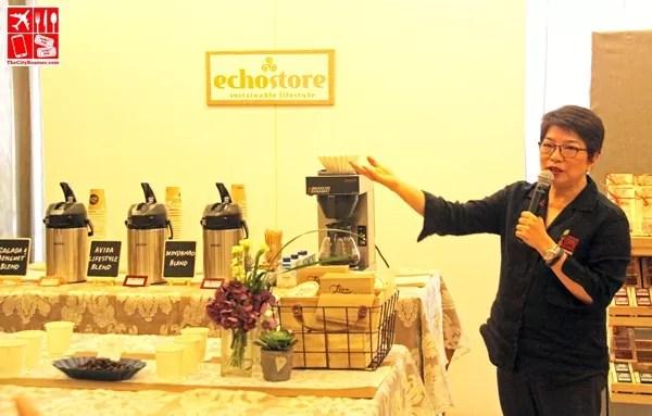 "Pacita ""Chit"" Juan (Echostore Founder and President, International Women's Coffee Alliance Philippine Chapter President) Coffee Cupping Demo (Smelling: Robusta, Barako, Arabica Beans; Tasting: Sagada & Benguet Blend, Avida Lifestyle Blend, Mindanao Blend)"