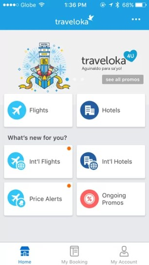 The Home Page of Traveloka App