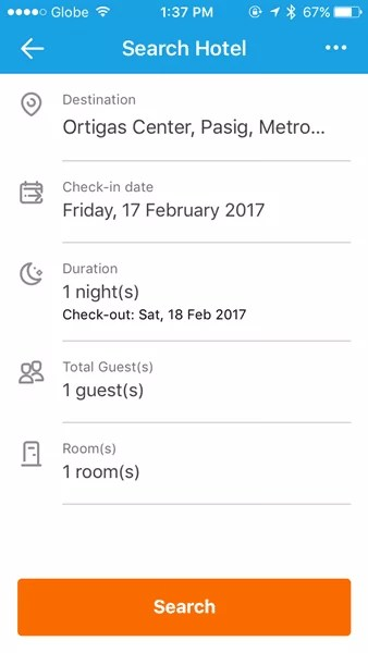 Input your criteria when searching for a hotel