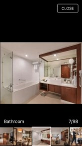 A peek of what my shower room would be at Discovery Suites