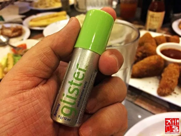 Spritzes of Glister Breath Spray after eating works