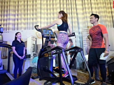 Coach Jim and Toni Saret demos Matrix Cardio Fitness Equipment