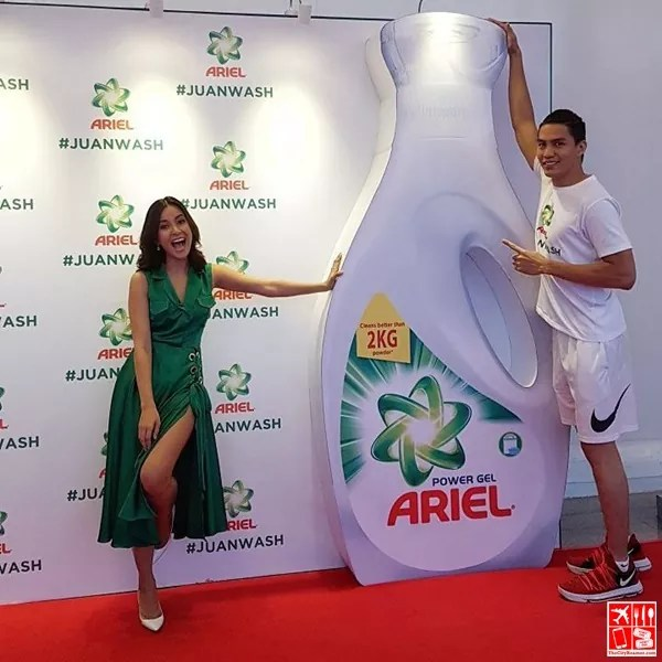 JC Intal and Bianca Gonzalez-intal at the Ariel Men #JuanWash Bash