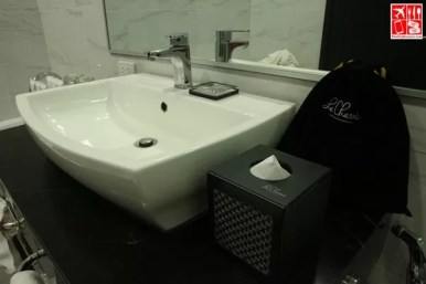 bathroom sink and amenities
