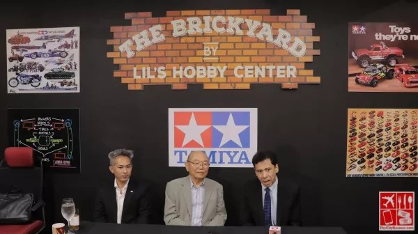 Mr Hironori Hane, Assistant General Manager International Sales of Tamiya and Mr Shusaku Tamiya, President and Chairman of Tamiya with Mr Ferdie Kahn, Proprietor of the Brickyard