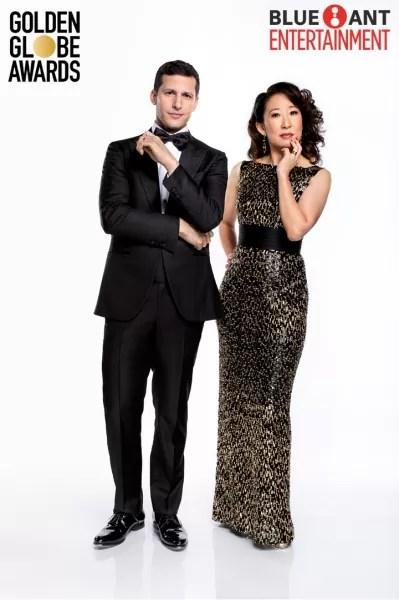 Sandra Oh and Andy Samberg hosting the 76th Golden Globe Awards
