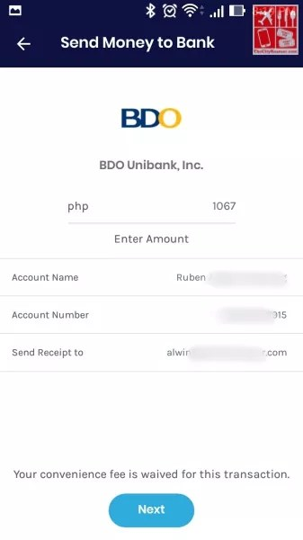 Deposit Money to BDO: Key in Account Details