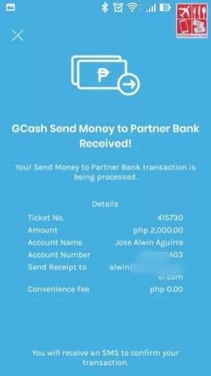 Deposit money to BPI: A page confirmation on successful transaction from GCash App