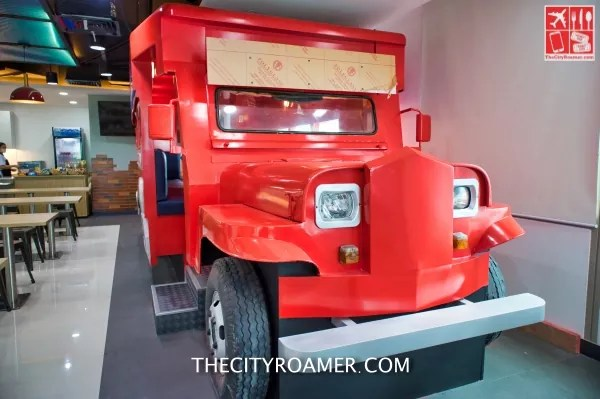 This jeepney is also a dining area at the TP Vertis North pantry