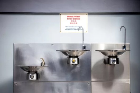 Safety measures posted by the Drinking Fountain