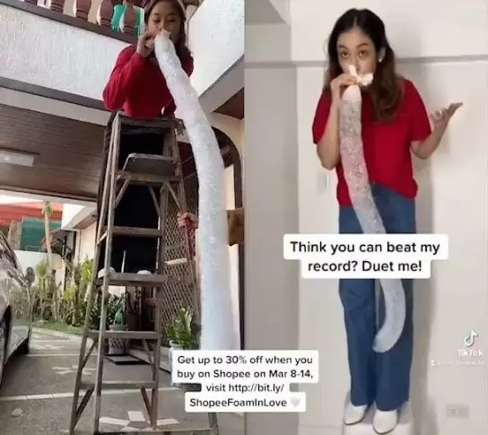 A tiktok user beating Bea for the foam challenge