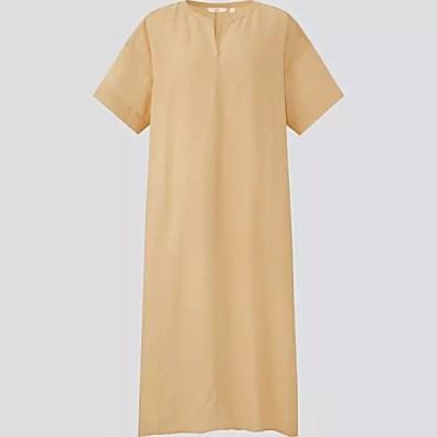 UNIQLO Women's Linen Blend Short Sleeve Kaftan Dress
