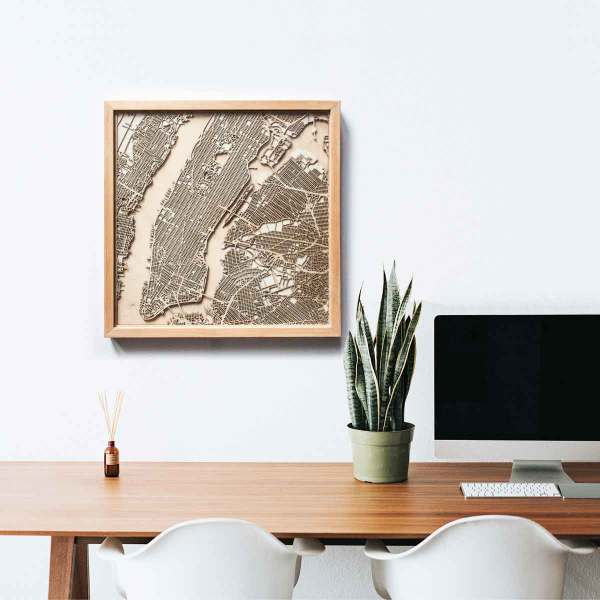 Map New York Wooden Wall Art