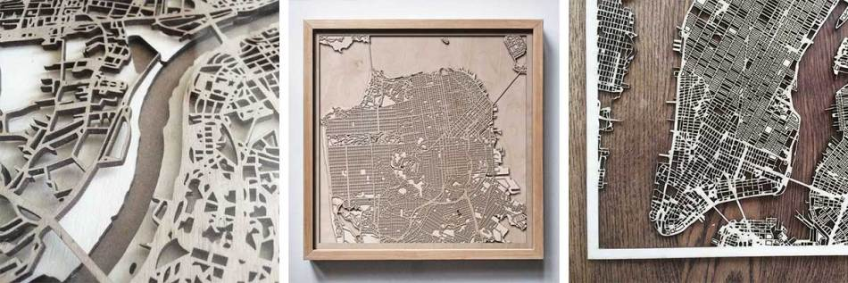 Map New York wooden wood san francisco