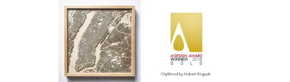 CityWood Gold A' Design Award 2018 Minimal Wooden map wood laser cut maps