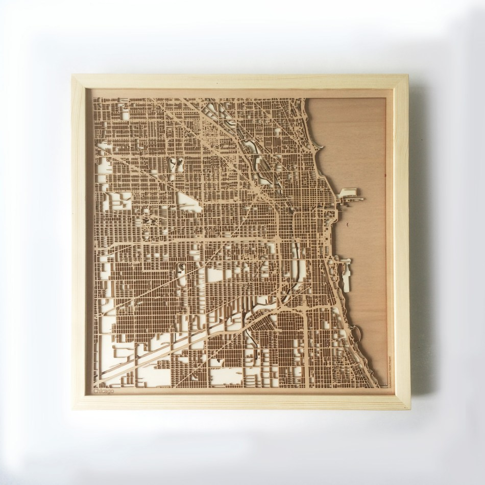 Chicago CityWood Minimal Wooden map wood laser cut maps https://thecitywood.com/ CityWood is a wooden map artwork. City streets, water CityWood - Laser Cut Wooden Maps - Award Wining Design by architect and designer Hubert Roguski