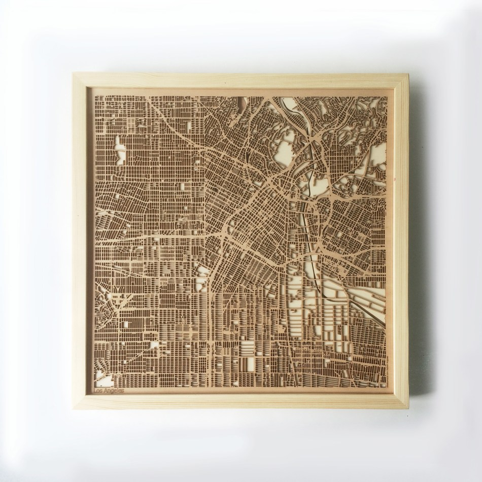 Los Angeles CityWood Minimal Wooden map wood laser cut maps https://thecitywood.com/ CityWood is a wooden map artwork. City streets, water CityWood - Laser Cut Wooden Maps - Award Wining Design by architect and designer Hubert Roguski