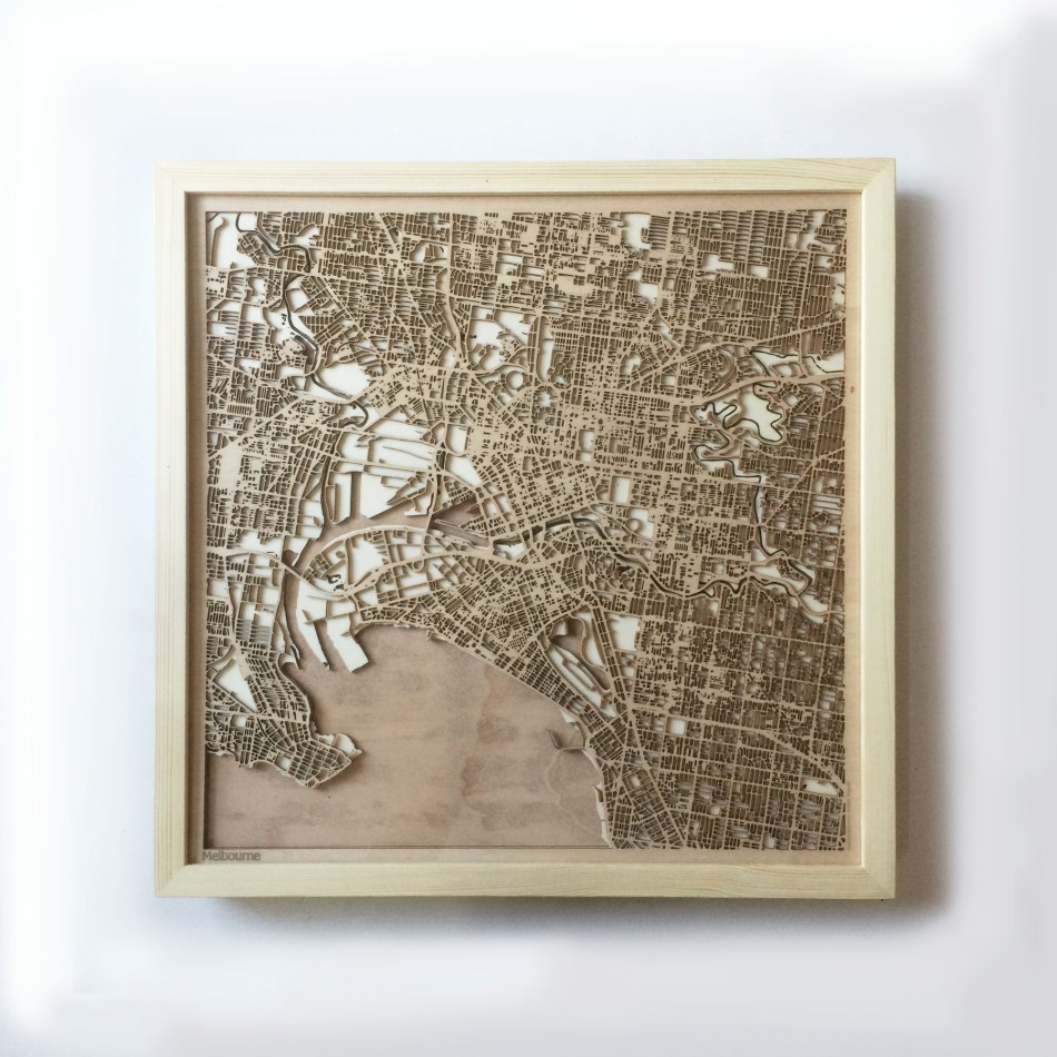 Melbourne CityWood Minimal Wooden map wood laser cut maps https://thecitywood.com/ CityWood is a wooden map artwork. City streets, water CityWood - Laser Cut Wooden Maps - Award Wining Design by architect and designer Hubert Roguski