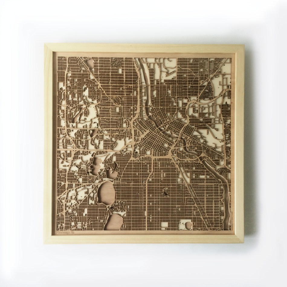 Minneapolis CityWood Minimal Wooden map wood laser cut maps https://thecitywood.com/ CityWood is a wooden map artwork. City streets, water CityWood - Laser Cut Wooden Maps - Award Wining Design by architect and designer Hubert Roguski