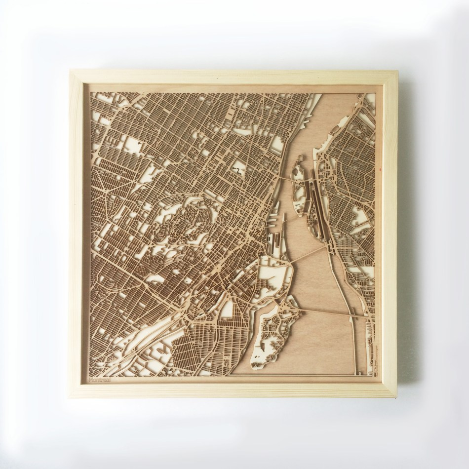 Montreal CityWood Minimal Wooden map wood laser cut maps https://thecitywood.com/ CityWood is a wooden map artwork. City streets, water CityWood - Laser Cut Wooden Maps - Award Wining Design by architect and designer Hubert Roguski