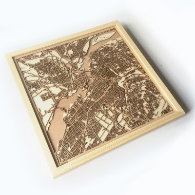 Ottawa CityWood Minimal Wooden map wood laser cut maps