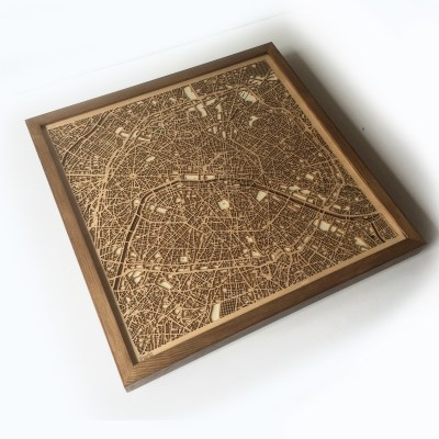 Paris CityWood Minimal Wooden map wood laser cut maps