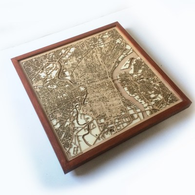 Philadelphia CityWood Minimal Wooden map wood laser cut maps