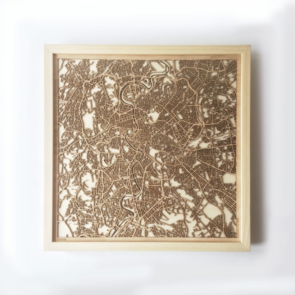 Rome CityWood Minimal Wooden map wood laser cut maps https://thecitywood.com/ CityWood is a wooden map artwork. City streets, water CityWood - Laser Cut Wooden Maps - Award Wining Design by architect and designer Hubert Roguski