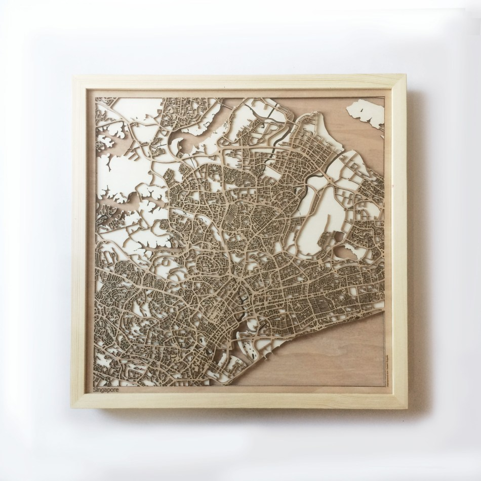 Singapore CityWood Minimal Wooden map wood laser cut maps https://thecitywood.com/ CityWood is a wooden map artwork. City streets, water CityWood - Laser Cut Wooden Maps - Award Wining Design by architect and designer Hubert Roguski