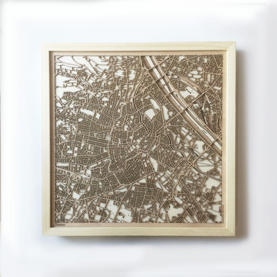 Vienna CityWood Minimal Wooden map wood laser cut maps https://thecitywood.com/ CityWood is a wooden map artwork. City streets, water CityWood - Laser Cut Wooden Maps - Award Wining Design by architect and designer Hubert Roguski