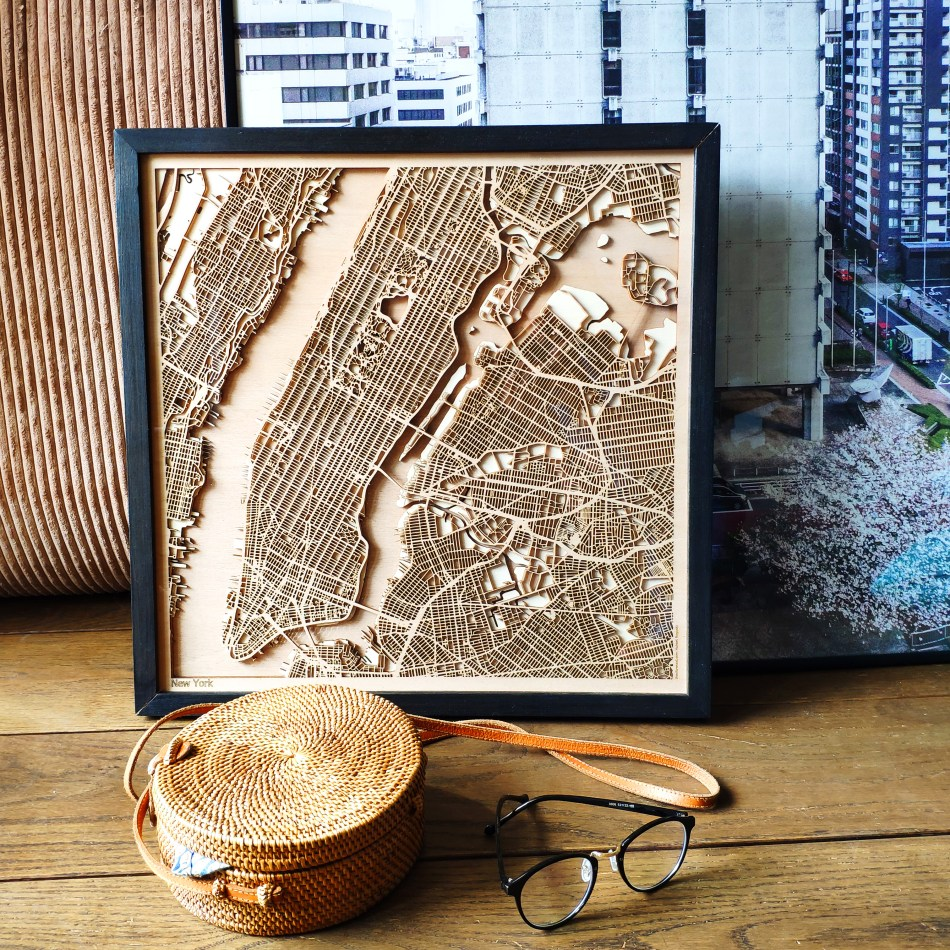 New York CityWood Custom Wooden map wood laser cut maps https://thecitywood.com/ CityWood is a wooden map artwork. City streets, water - Laser Cut Wooden Maps - Award Wining Design by architect and designer Hubert Roguski