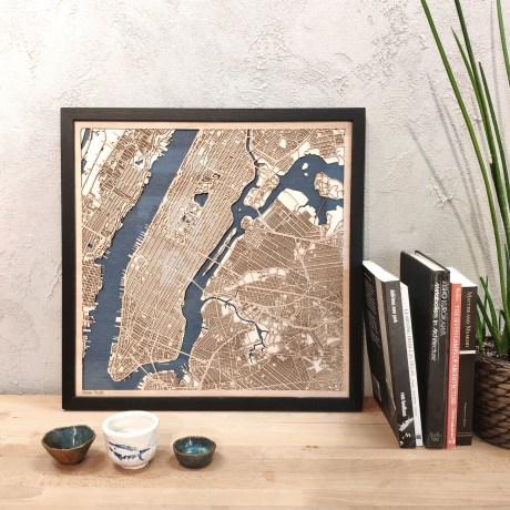 New York Wooden map wood laser cut maps