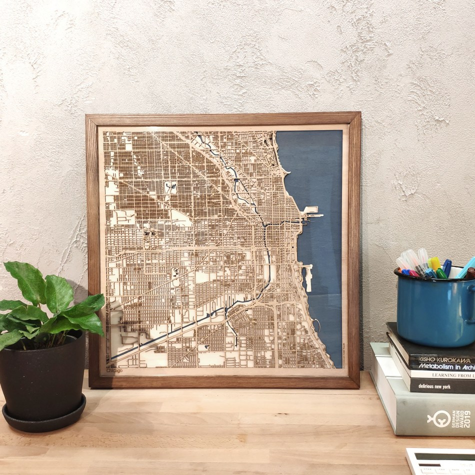 Chicago CityWood Custom Wood Map laser cut maps https://thecitywood.com/ CityWood is a wooden map artwork. City streets, water - Laser Cut Wooden Maps - Award Wining Design by architect and designer Hubert Roguski